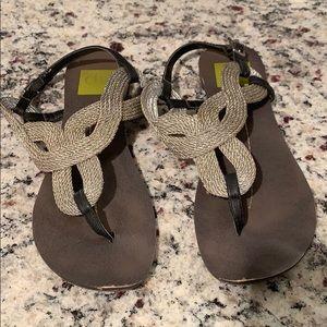 Silver DV thing sandal flats